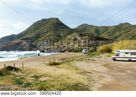 Cabo De Palos, Spain - February 1, 2019: Camper Cars Recreational Vehicle On Mediterranean Coast, Ca