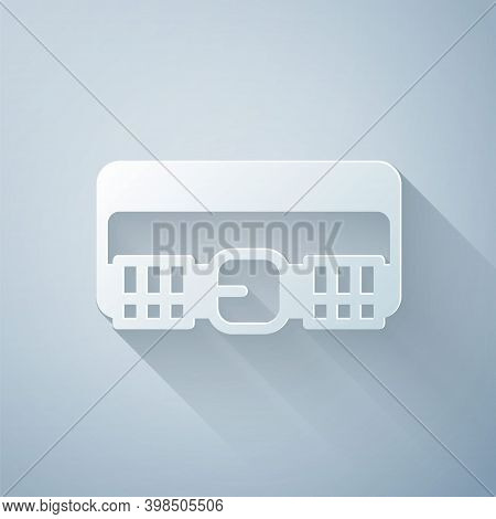 Paper Cut Hunting Cartridge Belt With Cartridges Icon Isolated On Grey Background. Bandolier Sign. H