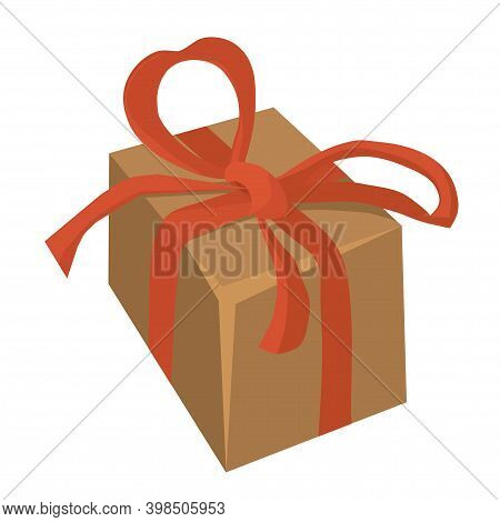 Vector Craft Box Tied With A Red Bow Close-up. Holiday Gift For A Loved One