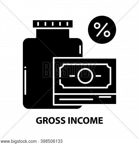 Gross Income Icon, Black Vector Sign With Editable Strokes, Concept Illustration