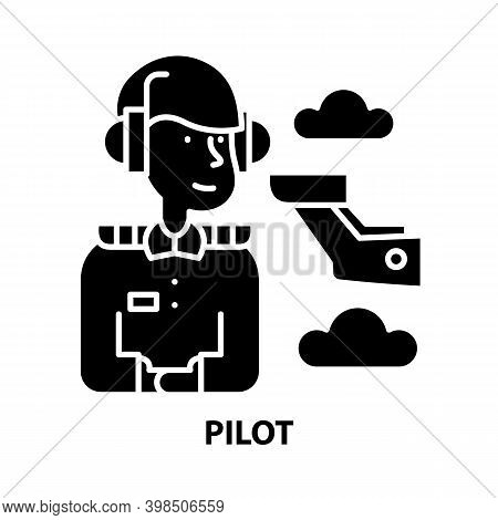 Pilot Icon, Black Vector Sign With Editable Strokes, Concept Illustration