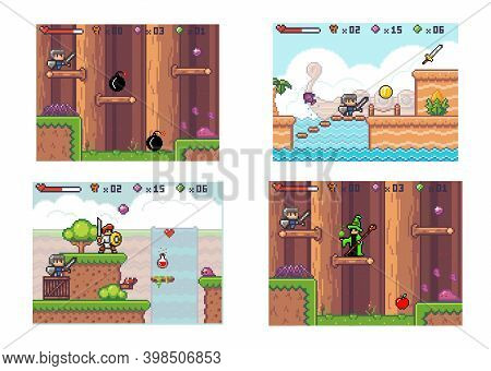 Set Of Illustrations About Pixel Game. Knight In Armor Collects Coins And Bombs. Adventure Computer