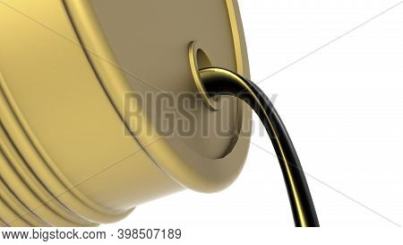 Crude Oil Flow Out From Golden Barrel, 3d Rendering