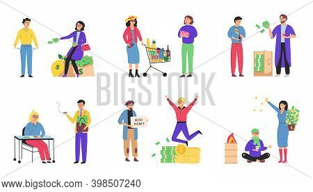 Financial Richness And Poverty. Waste Money Vector Isolated. Scene Set With Successful Happy Rich Pe
