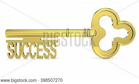 Golden Key With Success Word, 3d Rendering