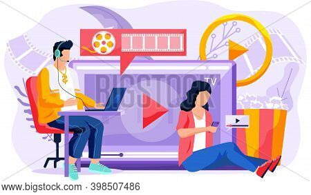 People Near Big Screen With Popcorn Bucket And Drinks. Watch Movie Online At Home. Online Cinema Con