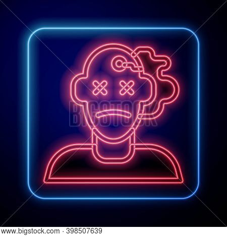 Glowing Neon Murder Icon Isolated On Blue Background. Body, Bleeding, Corpse, Bleeding Icon. Concept
