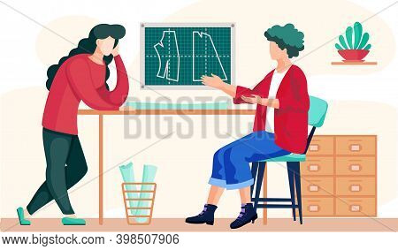 Colleagues In The Atelier Are Discussing The Model Of The Future Pattern While The Girl Sits With A