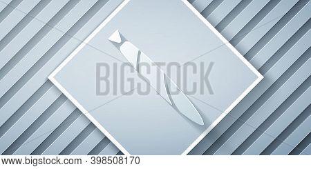 Paper Cut Marijuana Joint, Spliff Icon Isolated On Grey Background. Cigarette With Drug, Marijuana C