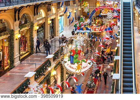 Moscow, Russia - December 4, 2020: New Year And Christmas Decoration Of The Gum In Moscow, Russia. C