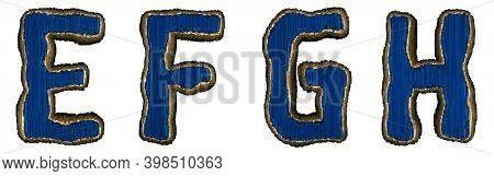 Set of alphabet letters E, F, G, H made of industrial metal blue color. Isolated white background. 3d rendering