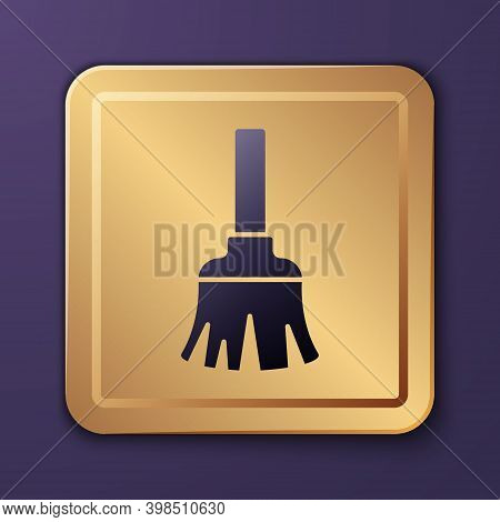 Purple Feather Broom For Cleaning Icon Isolated On Purple Background. Feather Duster. Gold Square Bu