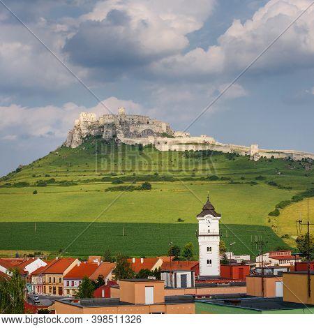 Spisske Podhradie With Spis Hrad Above, Slovakia.