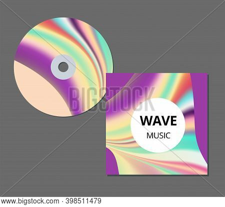 Cd Cover Presentation Design Template With Copy Space And Wave Effect, Editable Eps10 Vector Illustr