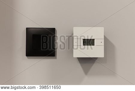 Closeup View Of Two Switches For Light And Air Conditioner On The Wall.