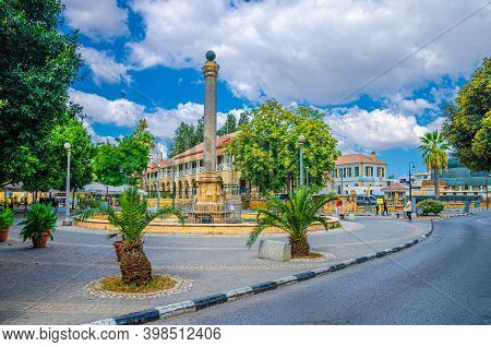 North Nicosia, Cyprus, September 24, 2017: Sarayonu Ataturk Square With Venetian Column Obelisk And