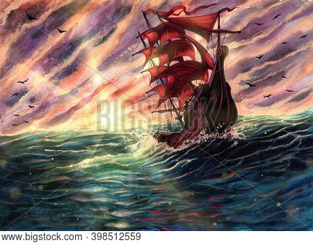 Watercolor Sea Landscape Painting With Ship With Scarlet Sails, Nature Landscape With Sunlight Flare
