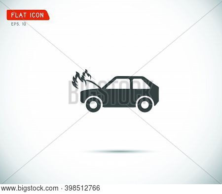 Car Fired Vehicle Insurance Icon. Flat Pictograph Icon Design, Vector Illustration.