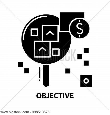 Objective Icon, Black Vector Sign With Editable Strokes, Concept Illustration