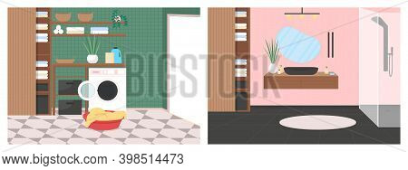 Luxury Bathroom Flat Color Vector Illustration Set. Automatic Washing Machine. Sink Faucet And Showe