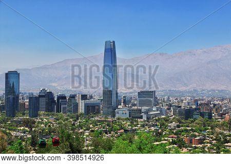 Santiago, Chile - 24 Dec 2019: Panoramic View Of Torre Costanera, The Skyscraper In Santiago, Chile