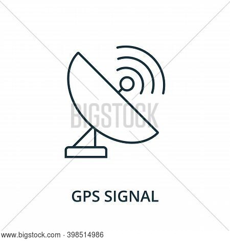 Gps Signal Icon. Line Style Element From Navigation Collection. Thin Gps Signal Icon For Templates,