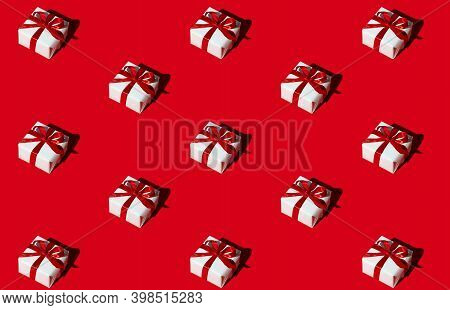 Gift Pattern. Red Seamless Background. Special Day Congratulation Design. Holiday Bonus. Symmetrical