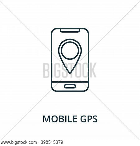 Mobile Gps Icon. Line Style Element From Navigation Collection. Thin Mobile Gps Icon For Templates,