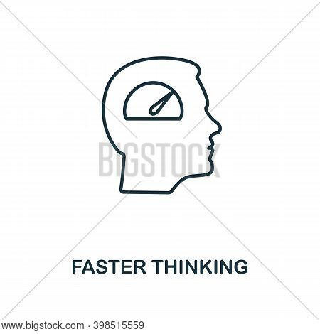 Faster Thinking Icon. Line Style Element From Personality Collection. Thin Faster Thinking Icon For