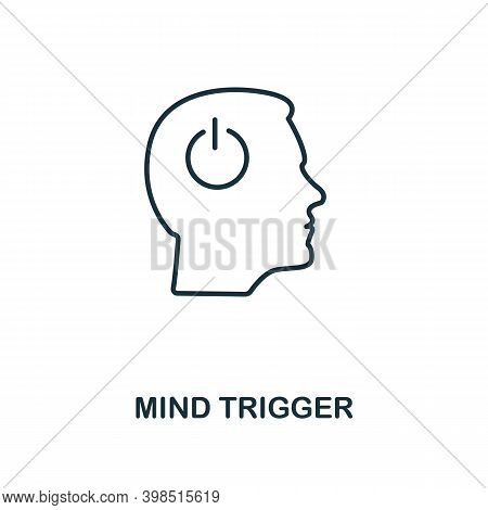 Mind Trigger Icon. Line Style Element From Personality Collection. Thin Mind Trigger Icon For Templa