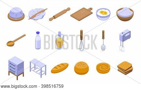 Dough Icons Set. Isometric Set Of Dough Vector Icons For Web Design Isolated On White Background