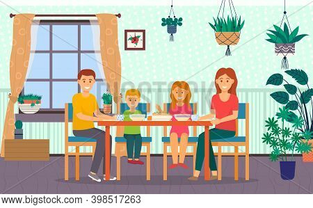 Happy Family Dining In Kitchen At Home. Family Members Smiling Mother, Father, Son And Daughter Sitt