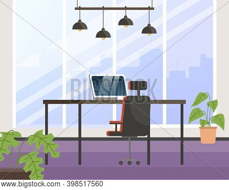 Room For Working Vector Illustration. Furniture For Interior Of Workplace. Arrangement Of Furniture