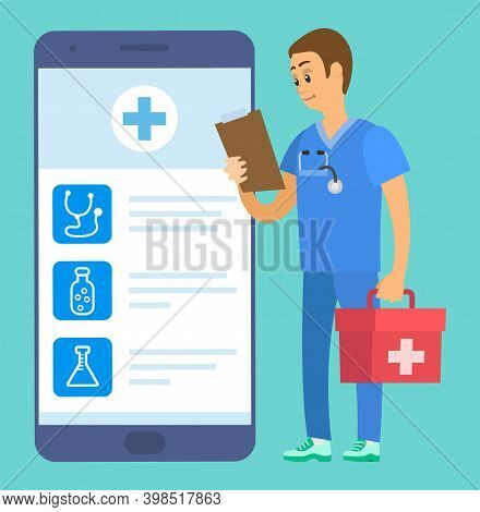 Phone Screen With Medical App. Medical Worker Holding Document And First Aid Kit. Emergency Doctor E