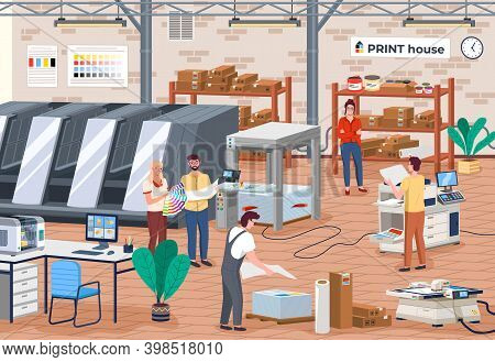 Printing House Different Equipment. Printer Plotter, Offset Cutting Machines And People Workers In P