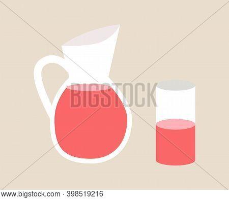 Pomegranate Juice In Glass Jar Flat Vector Illustration. Cartoon Jug Isolated On White Background. O