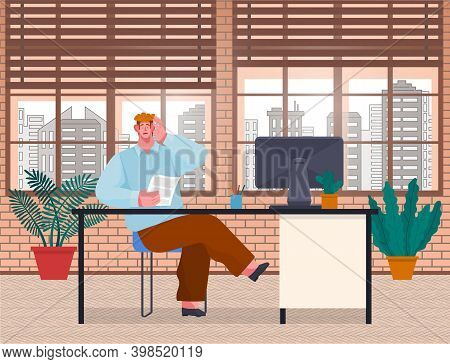 Surprised Young Man Businessman, Cartoon Concerned Character, Siting At A Table In Office Room And H