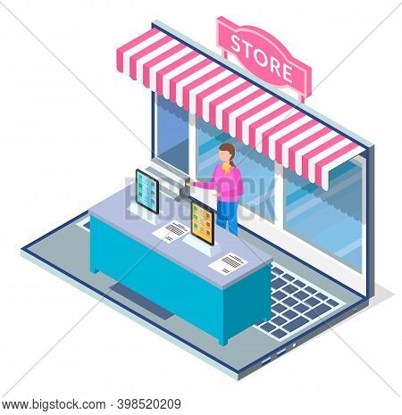 Online Shopping Concept. Opened Laptop With Awning, Girl Seller Behind The Counter Standing On Keybo