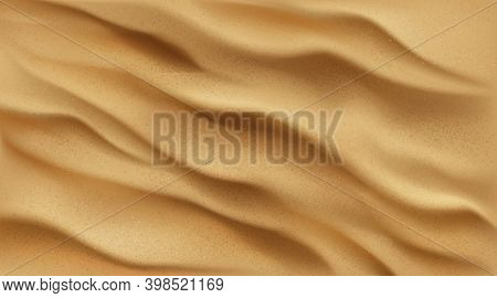 Sand Background Top View, Desert Or Beach Texture With Golden Sandy Waves Or Dunes. Ocean Or Sea Bot
