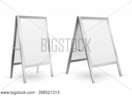 Pavement Sign, Blank Sidewalk Advertising Stand Isolated On White Background. Vector Realistic Mocku