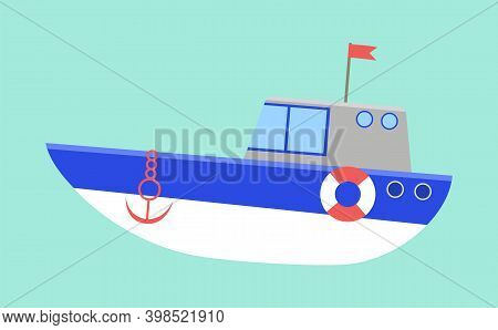 Sea Transport Isolated On A Blue Background. Boat With Anchor And Cabin Flat Vector Illustration. Li