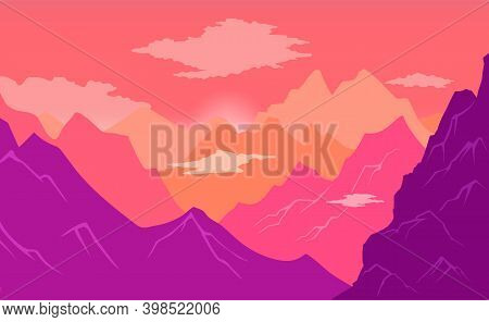 Natural Landscape Background With Mountains, Clear Sky And Clouds, Sharp Peaks And Steep Slopes High
