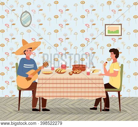 Dining Room In Mexican Style Vector Illustration. Dining Table With Tacos And Burritos. Man In A Som