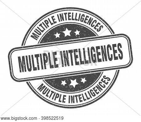 Multiple Intelligences Stamp. Multiple Intelligences Label. Round Grunge Sign