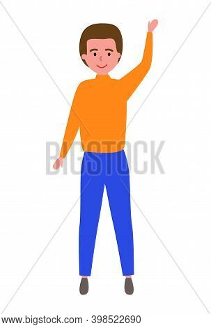Boy Putting Up Hand To Gain Attention Vector Illustration. Guy Dressed In Autumn Clothes Raising His