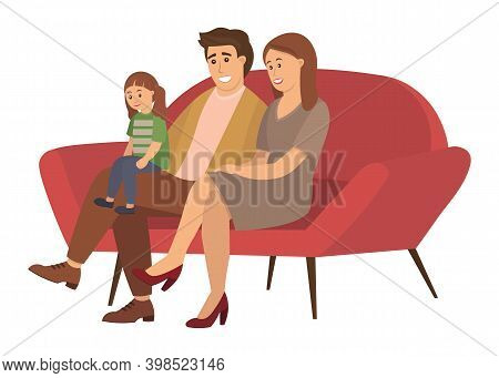 A Man And A Woman Are Sitting On A Large Red Sofa. The Girl With Two Ponytails Sits On Her Dad S Lap