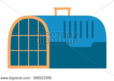 Pet Carrying Case, Blue Container With Handle And Lattice Door For Animal Transportation On White Ba