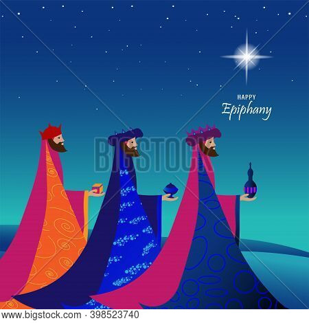 Epiphany, A Christian Festival. Jesus Christ Soon After He Was Born. Abstract 3 Kings Looking At Sta