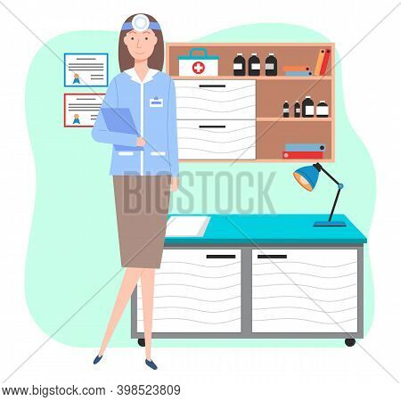 Veterinary Care. Veterinarian Doctor Female Character In The Medical Office. Medic In A Medical Room