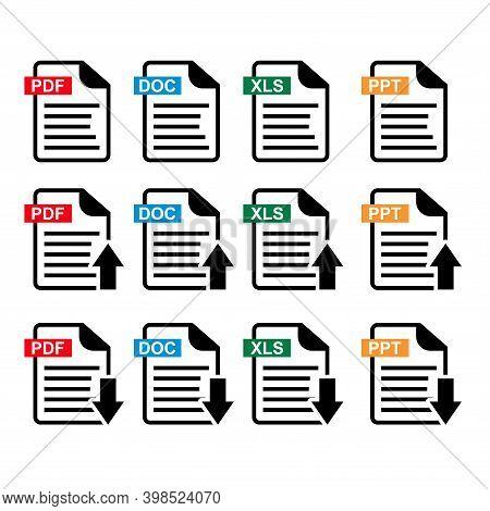 Document Icon Flat Image. Document Vector Download Icon. Document Web Icon Set. Pdf, Doc, Xls Adn Pp